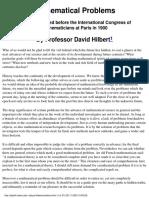 Hilbert D. Mathematical Problems (Lecture on ICM Paris, 1900)(37s)