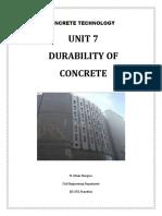 Unit 7 - Durability of Concrete