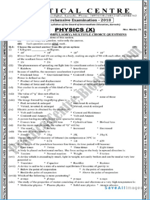 Physics Matric Practical Centre Guess Paper 2018 1