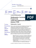 Mathematics Curriculum Framework