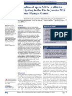 2018 Evaluation of Spine MRIs in Athletes Participating in the Rio de Janeiro 2016 Summer Olympic Games