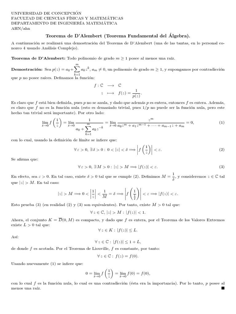 Demostracion del teorema de dalembert betting 888 sport betting