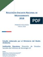 Primeros Resultados Encuesta Nacional de Medioambiente 2018