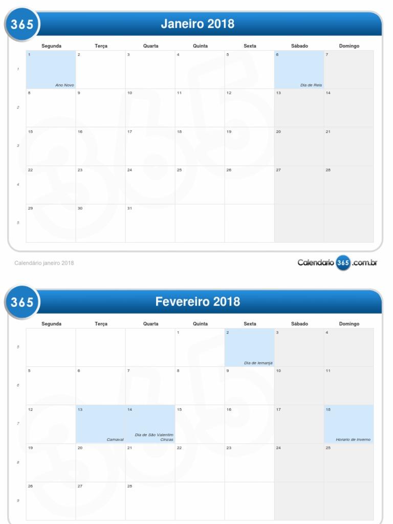 Calendario 365.2018 Calendario Mensal Pdf