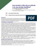 Cómo Realizar Una Revisión Crítica de Un Artículo Publicado en Una Revista Científica