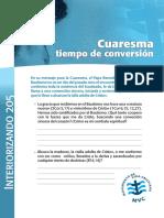 CHD 205 Mar2011 Cuaresma Tiempo de Conversión INTERIORIZANDO