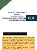 As Regras de Nomenclatura Binomial de Lineu e Formas de Classificação Biológica