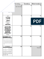 Template Montly Planner 2018 -2