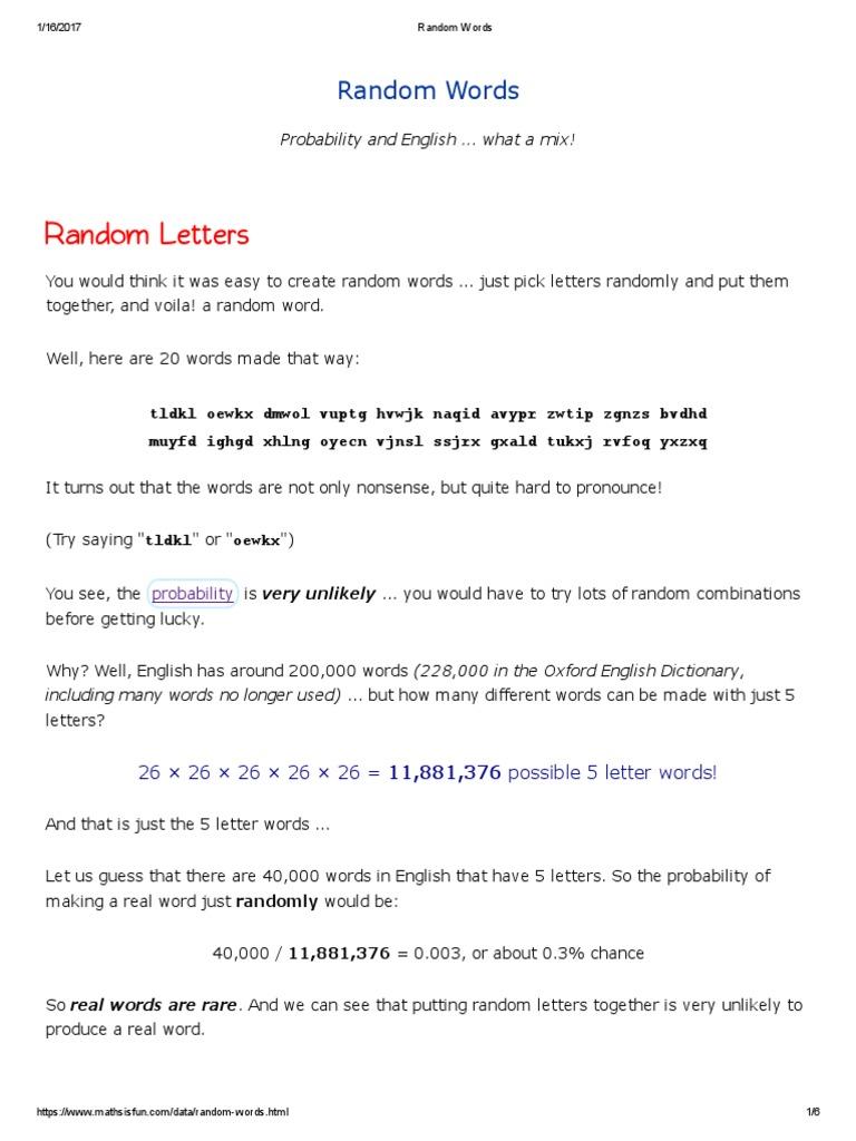 Random Wordspdf English Language Randomness