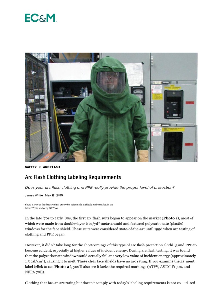 8518123345d0 Arc Flash Clothing Labeling Requirements