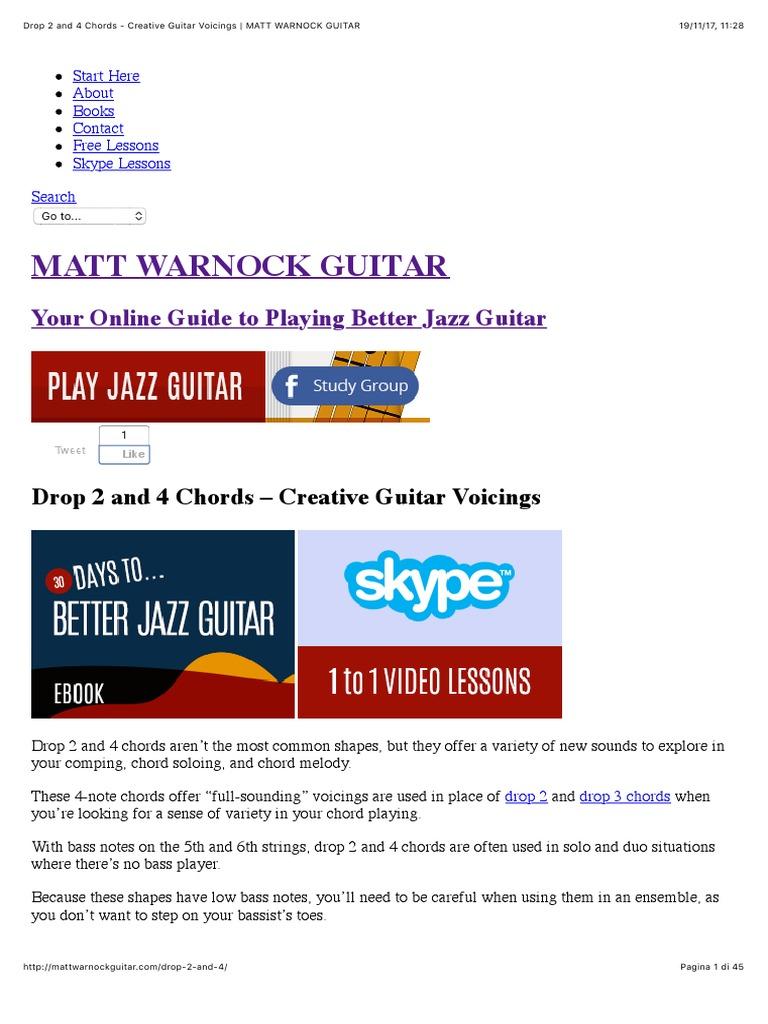 Drop 2 And 4 Chords Creative Guitar Voicings Matt Warnock Guitar