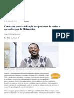 Contexto e Contextualização Nos Processos de Ensino e Aprendizagem Da Matemática