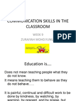 Communication Skills in the Classroom Wk 9