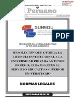 Resolución que otorga la Licencia Institucional a la Universidad Privada Antenor Orrego para ofrercer el servicio educativo superior universitario