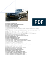 Alfa Romeo 156 Lista Coduri Eroare-En