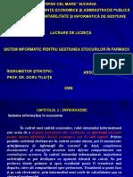 Sistem Informatic Pentru Gestiunea Stocurilor in Farmacii