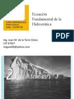 Clase 3 Ecuacion Fundamental de La Hidrostatica Teorema de Pascal