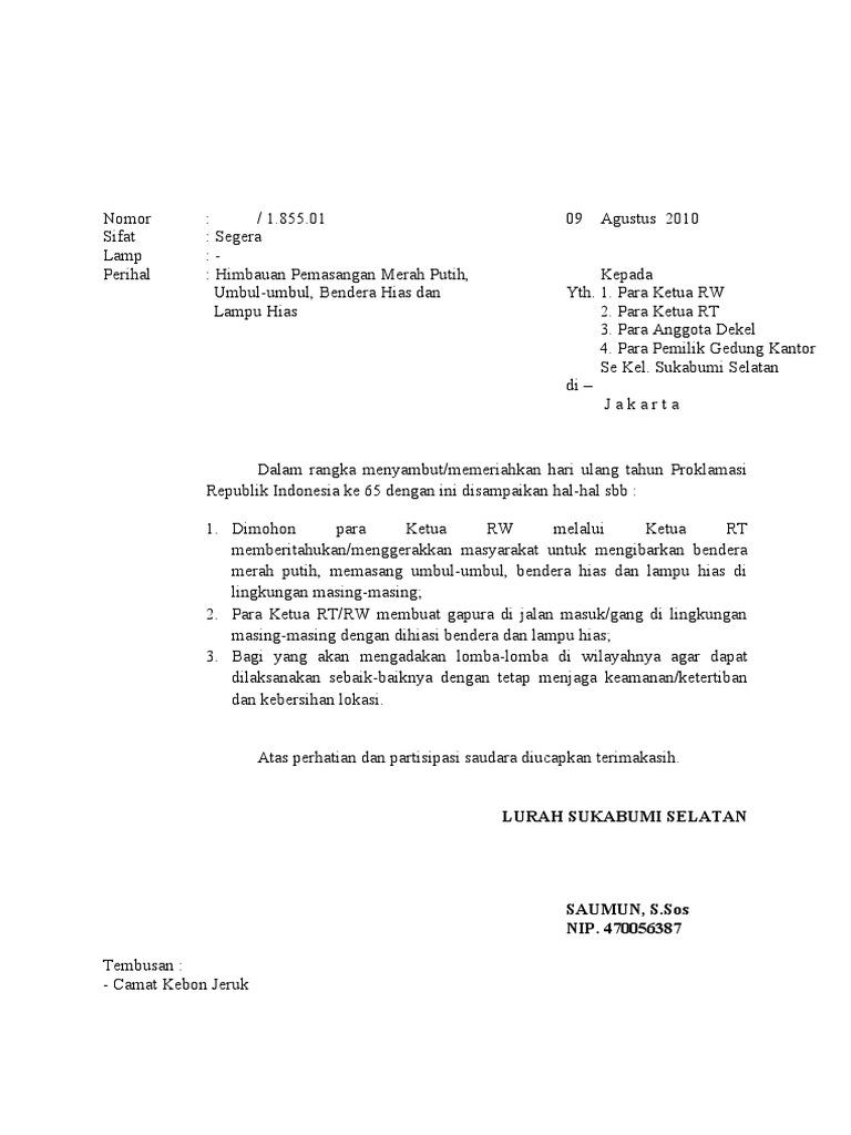 Contoh Surat Himbauan Informasi Seputar Dunia Militer Dan
