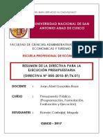 Resumen de La Directiva Para La Ejecución Presupuestaria