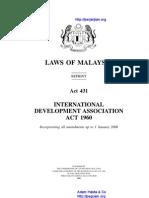 Act 431 International Development Association Act 1960