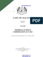 Act 433 Merdeka Stadium Corporation Act 1963