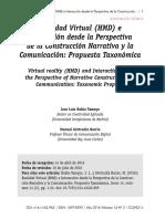 Realidad Virtual (HMD) e Interacción desde la Perspectiva de la Construcción Narrativa y la Comunicación