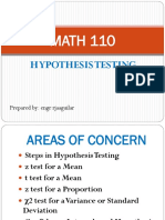 Math 110 2 Hypothesis Testing