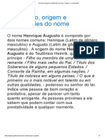 Henrique Augusto _ Significado Do Nome, Origem e Curiosidades