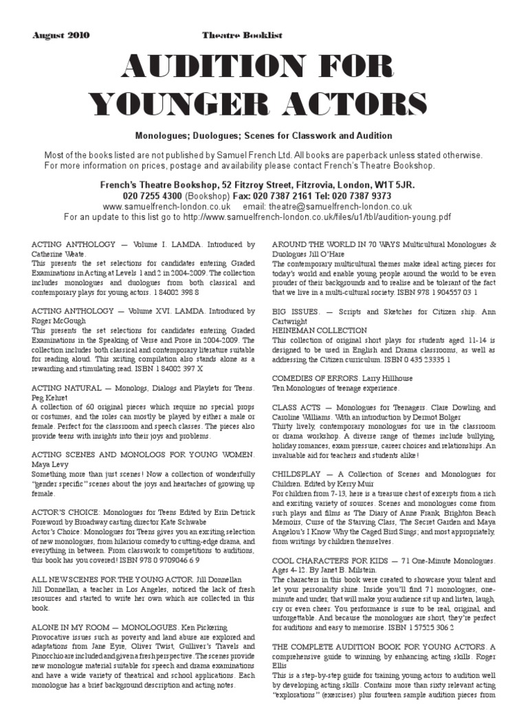 Audition Young   Audition   Monologue