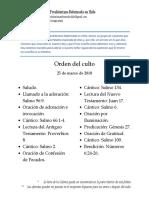 2018-03-25 - Orden Del Culto