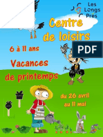 Plaquette Vacances Printemps