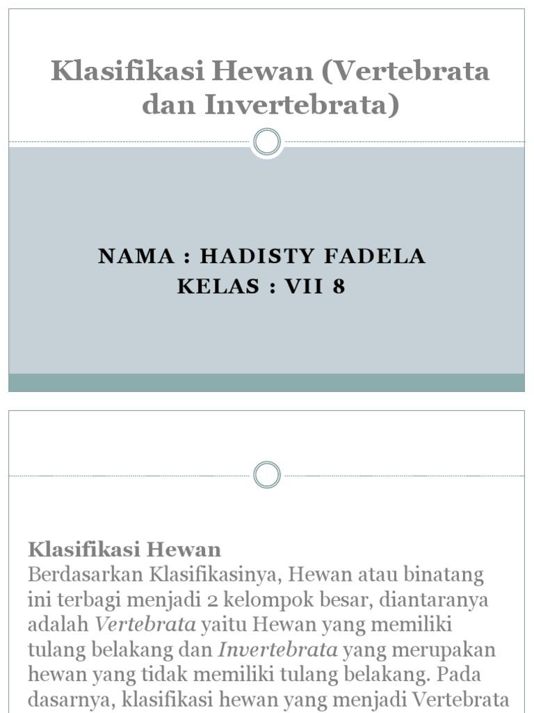 Klasifikasi Hewan Vertebrata Dan Invertebrata Pptx