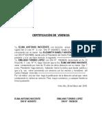 Certificación de Vivencia