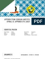 Appendictomi Dengan Anestesi Spinal Ec Appendicitis AKUT