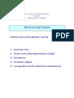 Articulos Botiquín Niveles Sala Cuna 2016