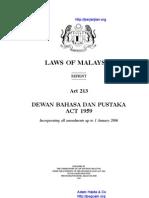 Act 213 Dewan Bahasa Dan Pustaka Act 1959
