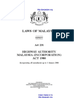 Act 231 Highway Authority Malaysia Incorporation Act 1980