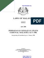 Act 244 an Kemajuan Filem Nasional Malaysia Act 1981