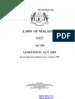 Act 254 Limitation Act 1953
