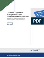 Detecon-Studie Customer Experience Management in der Telekommunikationsbranche. Marktstudie und Handlungsempfehlungen zur optimalen Gestaltung von Kundenerlebnissen