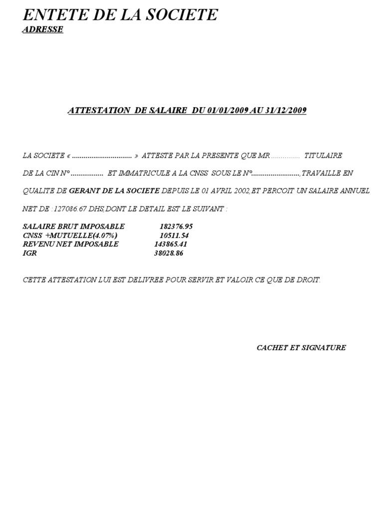Attestation de salaire - Declaration de fin de travaux non faite ...