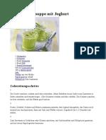 Kalte Gurkensuppe Mit Joghurt