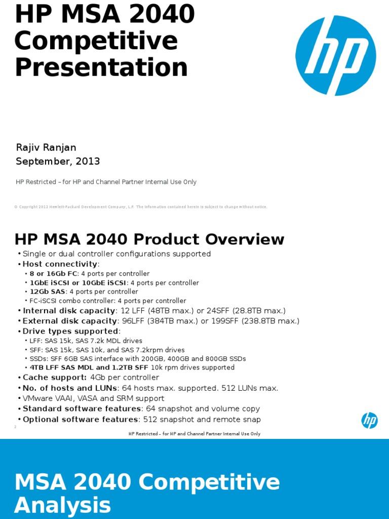 MSA 2040 Competitive Presentation Oct 13 | Hard Disk Drive