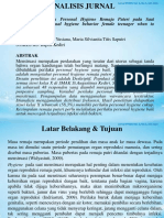 Analisis Jurnal (Personal Hygiene Wanita)