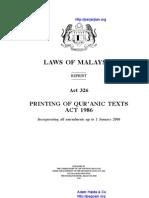 Act 326 Printing of Quranic Texts Act 1986