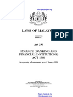 Act 330 Finance Banking and Financial Institutions Act 1986