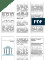 Trifoliar Los Cuatro Pilares de La Educacion