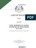 Act 373 Yang Di Pertuan Agong Exercise of Functions Act 1957