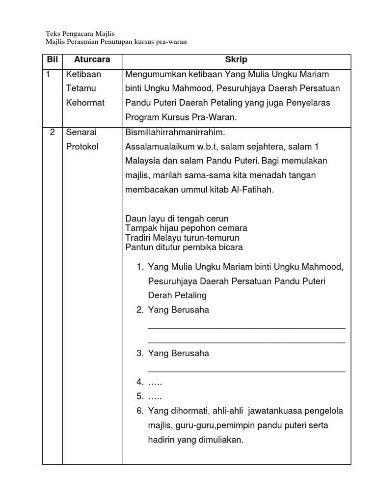 Contoh Teks Pengerusi Majlis Kursus