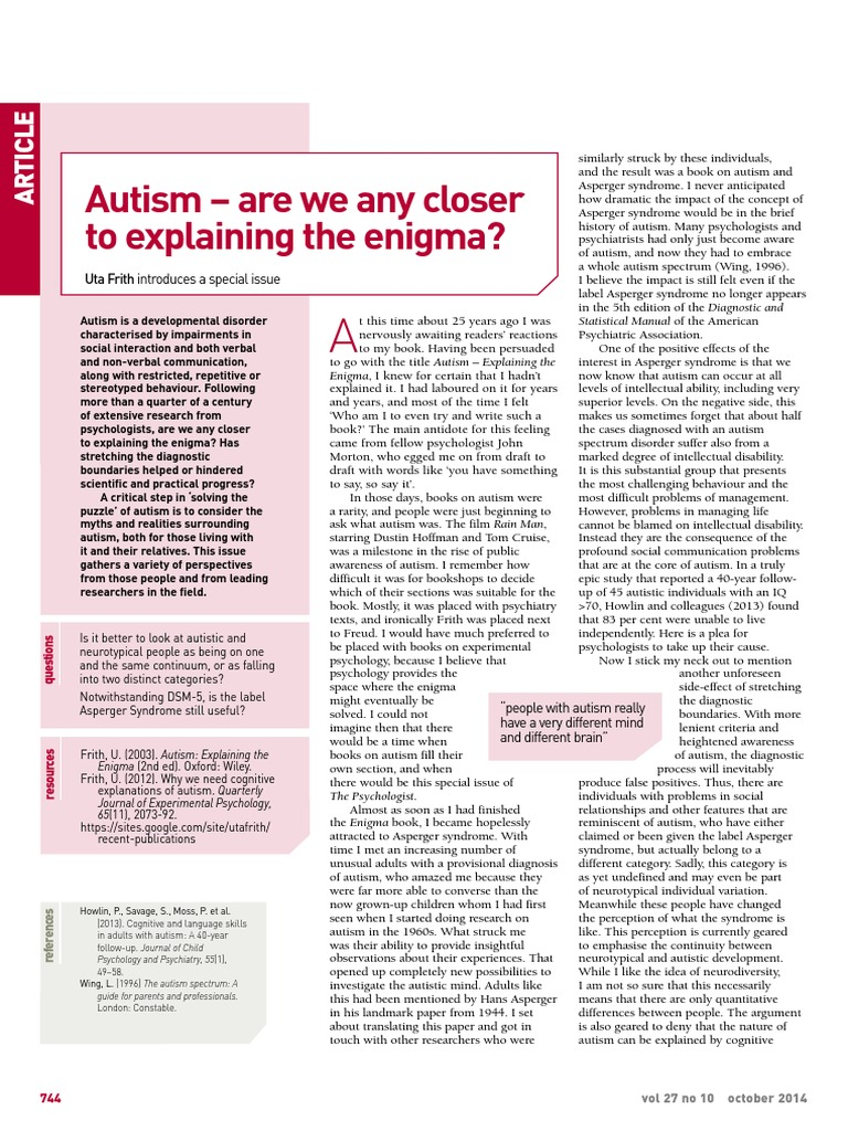 Autism Are We Any Closer To Explaining >> Autism Are We Any Closer To Explaining The Enigma Autism